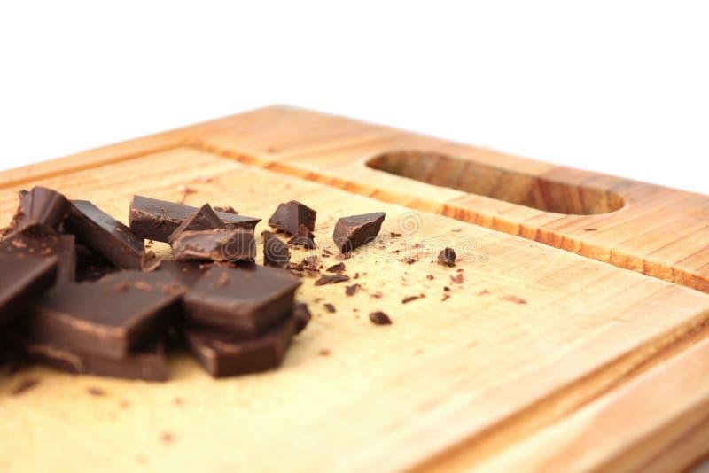 Donkere gehakte chocolade royalty-vrije stock foto's