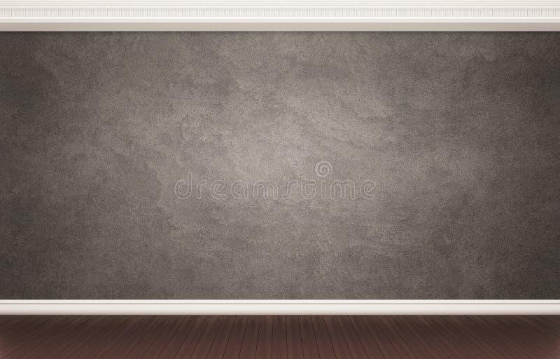Donkere gepleisterde muur met klassiek decor stock foto