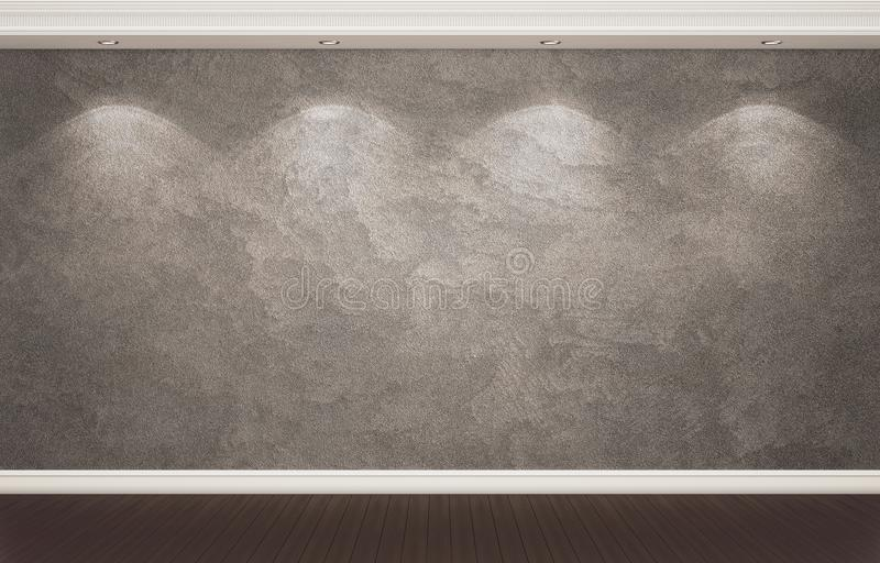 Donkere gepleisterde muur met klassieke decor en schijnwerpers royalty-vrije stock fotografie