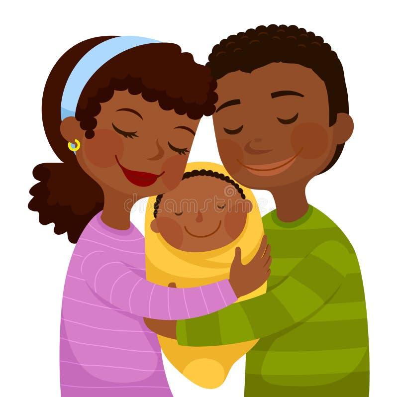 Donkere gevilde ouders met een baby stock illustratie