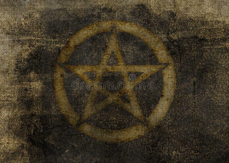 Donkere Geweven Achtergrond Pentagram vector illustratie