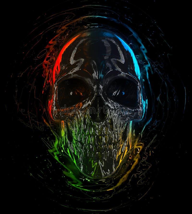 Donkere glanzende schedel met heldere kleurrijke hoogtepunten vector illustratie