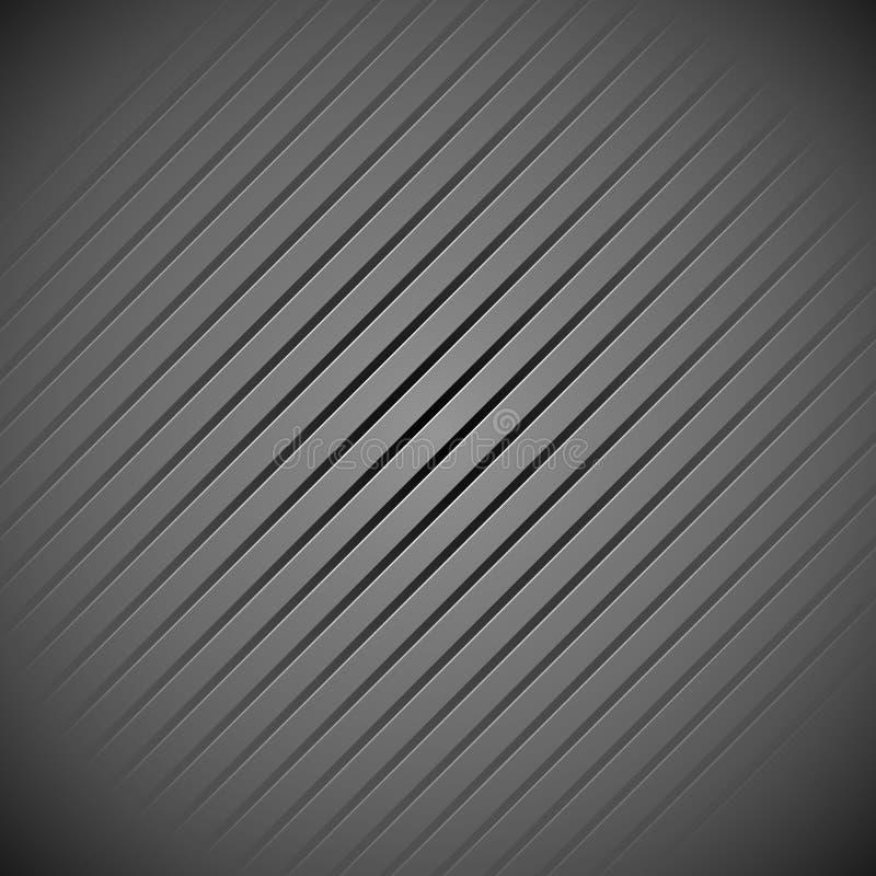 Donkere, grijze achtergrond, patroon met hellende lijnen stock illustratie