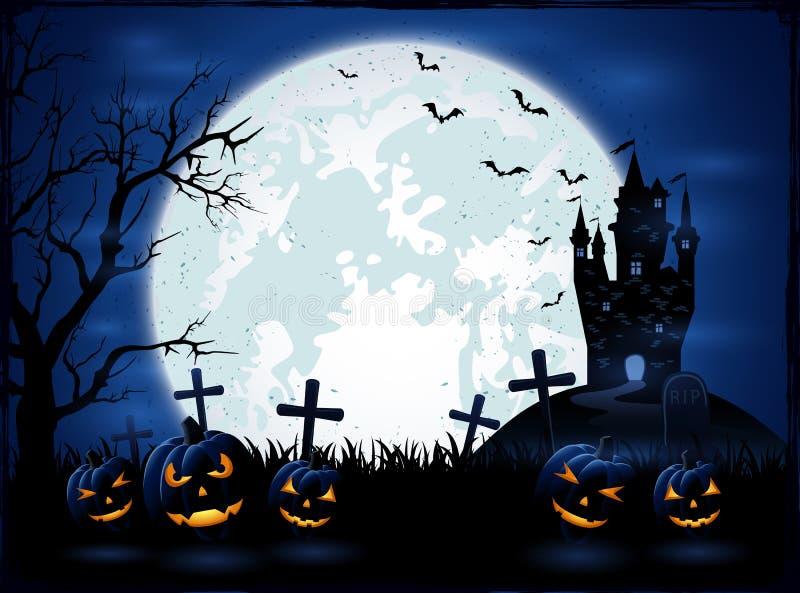 Donkere Halloween-nacht met pompoenen vector illustratie