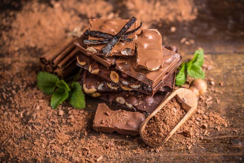 Donkere hazelnootchocolade royalty-vrije stock foto's