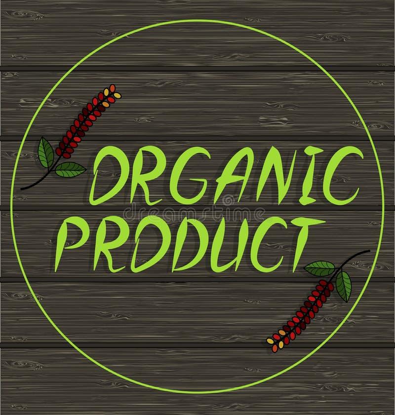 Donkere houten oppervlakte met een inschrijving - biologisch product royalty-vrije illustratie