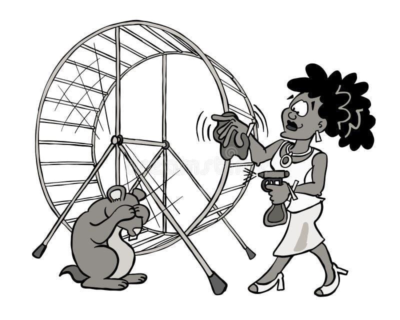 Donkere huidvrouw die haar hamsterwiel in zwart-wit schoonmaken royalty-vrije illustratie