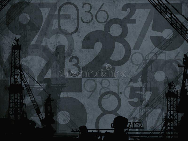 Donkere industriële aantallen abstracte achtergrond royalty-vrije illustratie