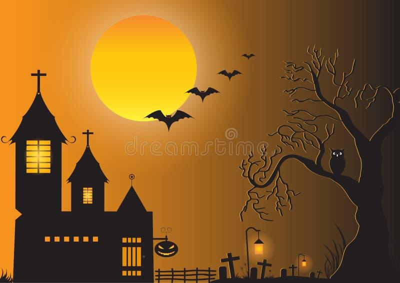 Donkere kasteel, van de silhouetboom, van de volle maan, van de uil, van de knuppel, van de pompoen en van het kerkhof achtergron vector illustratie