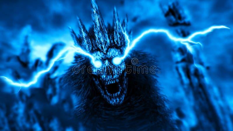 Donkere koningin met bliksem van ogen Blauwe kleur royalty-vrije illustratie