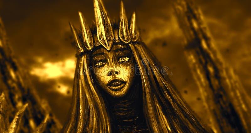 Donkere koningin met kroon Oranje Achtergrond vector illustratie