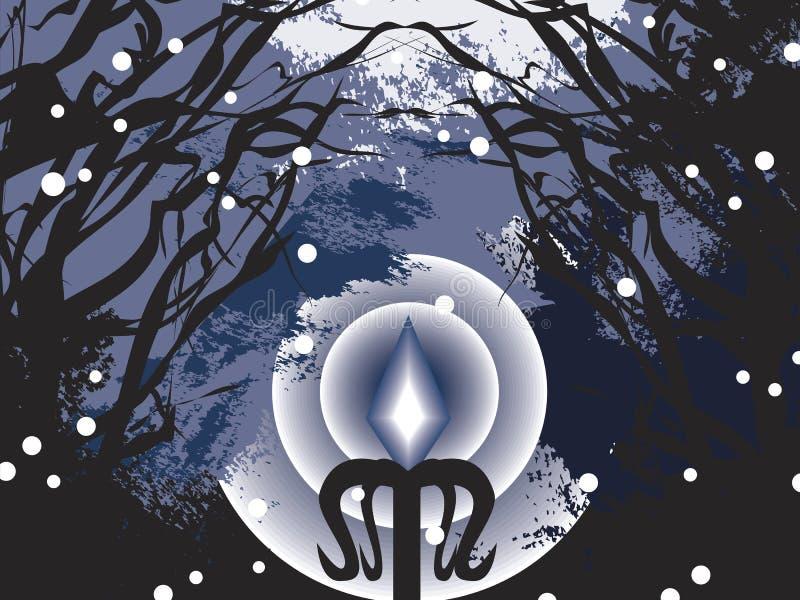 Donkere Koude Kerstmis stock illustratie