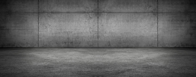 Donkere Lege Concrete Muurzaal Stadium Moderne Panoramische geweven Achtergrond royalty-vrije stock foto's