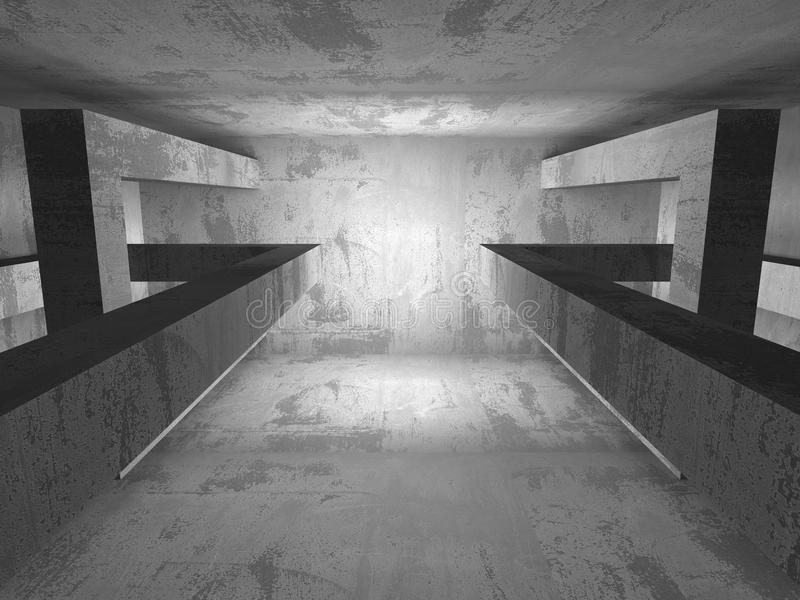 Donkere Lege Zaal Concrete roestige muren Architectuur grunge backg stock illustratie