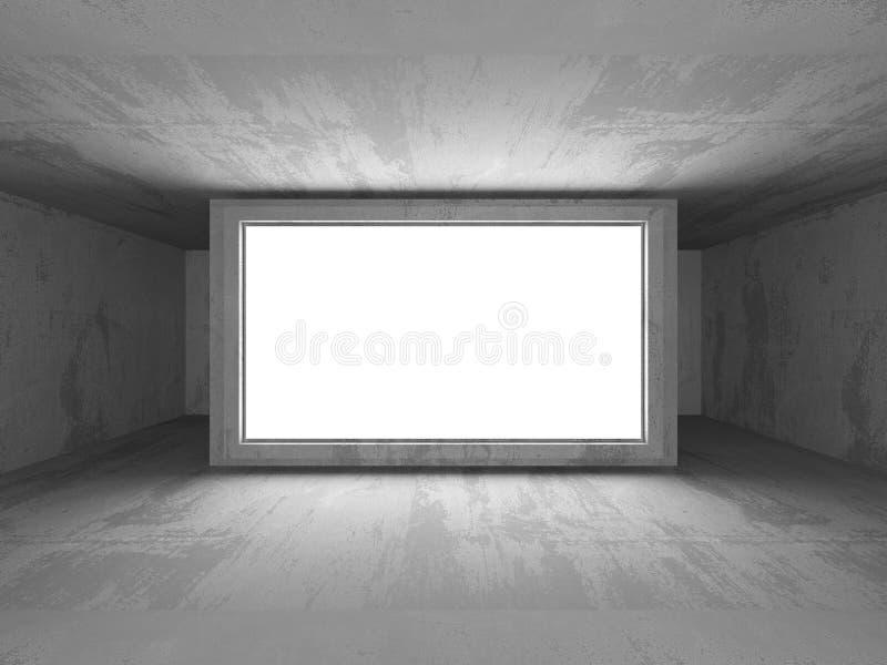 Donkere Lege Zaal Concrete roestige muren De achtergrond van de architectuur royalty-vrije illustratie