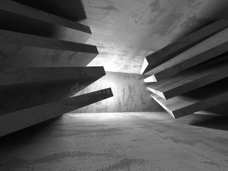 Donkere Lege Zaal Concrete roestige muren De achtergrond van de architectuur stock illustratie