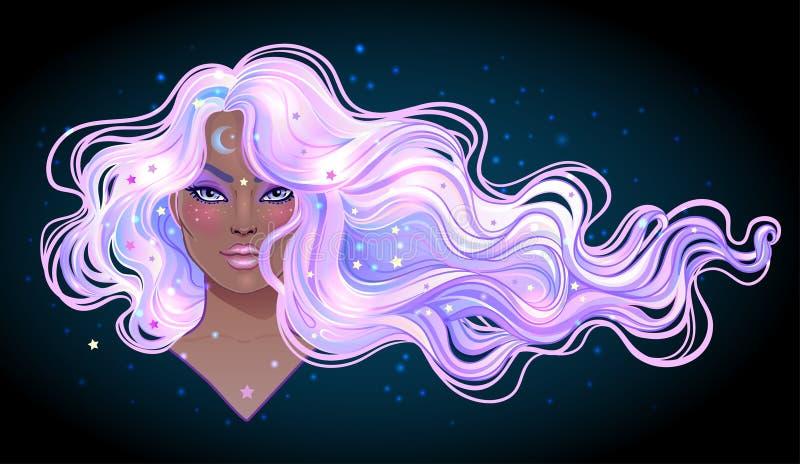 Donkere Magisch Het geheimzinnige meisje met melkweg maakt op en met de hemel stock illustratie