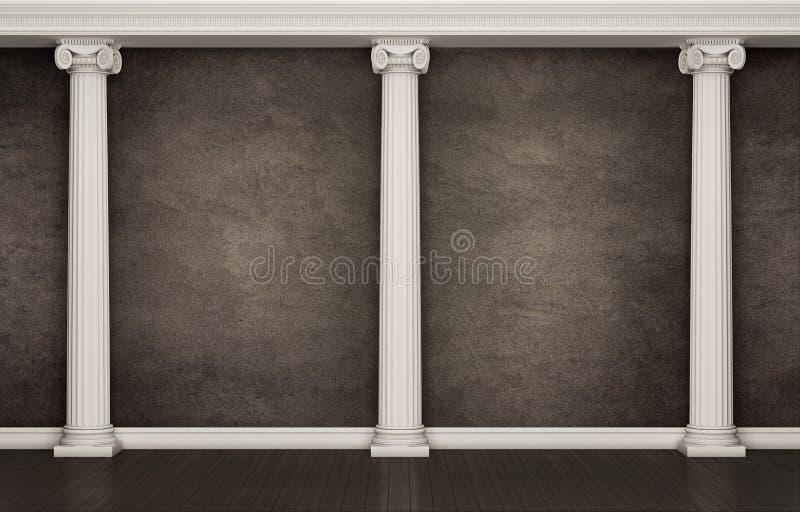 Donkere muur met klassieke kolommen stock afbeeldingen