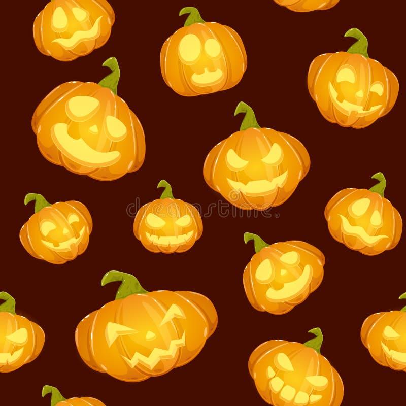 Donkere naadloze achtergrond met het glimlachen van Pompoenen voor Halloween royalty-vrije illustratie