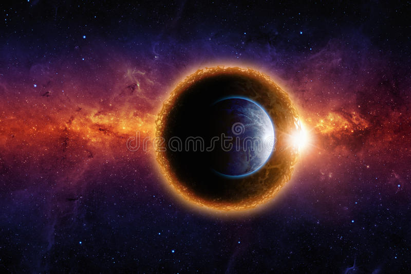Donkere planeet en aarde stock illustratie