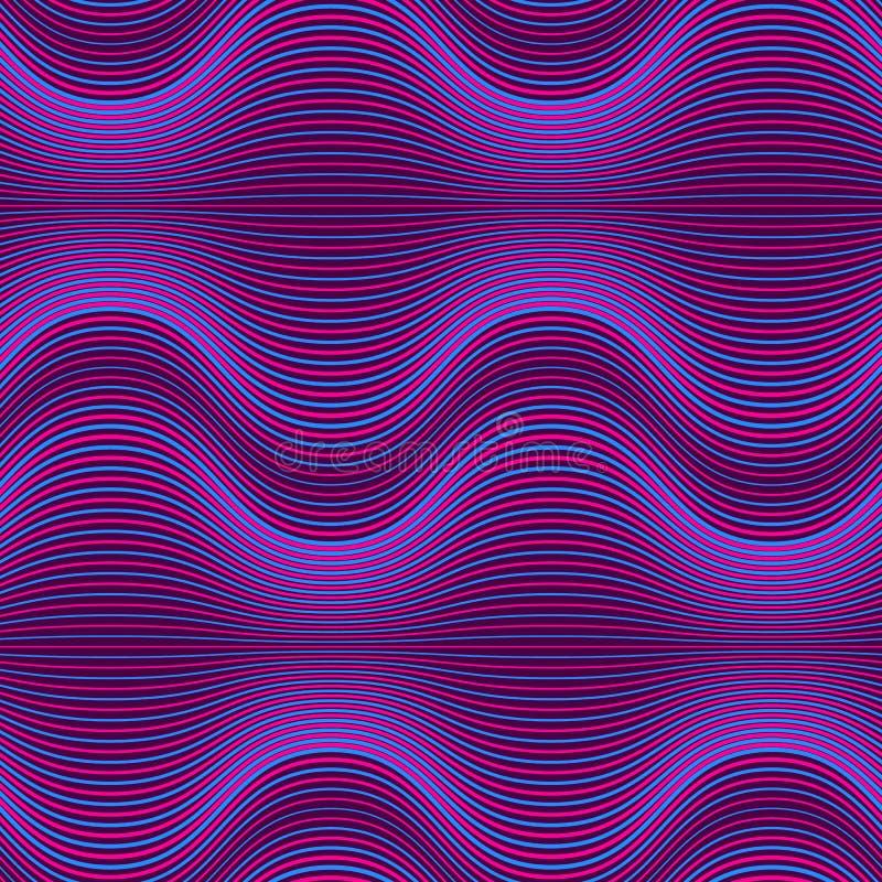 Donkere purpere abstracte geometrische achtergrond met mengsellijnen Ultraviolet naadloos patroon met golven vector illustratie
