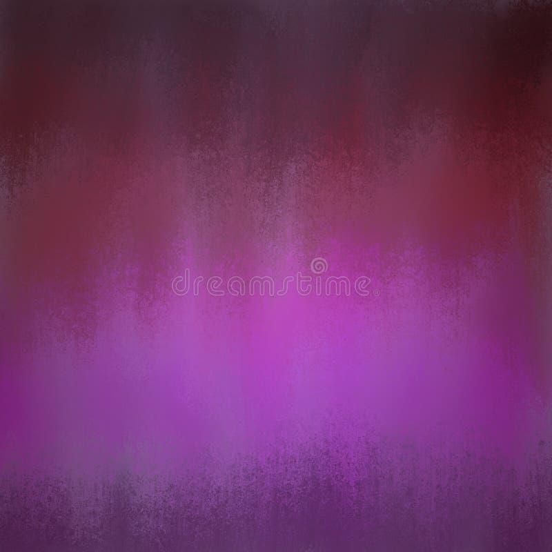 Donkere purpere en rode achtergrond met grungy kleurenstroken en helder centrum stock afbeeldingen