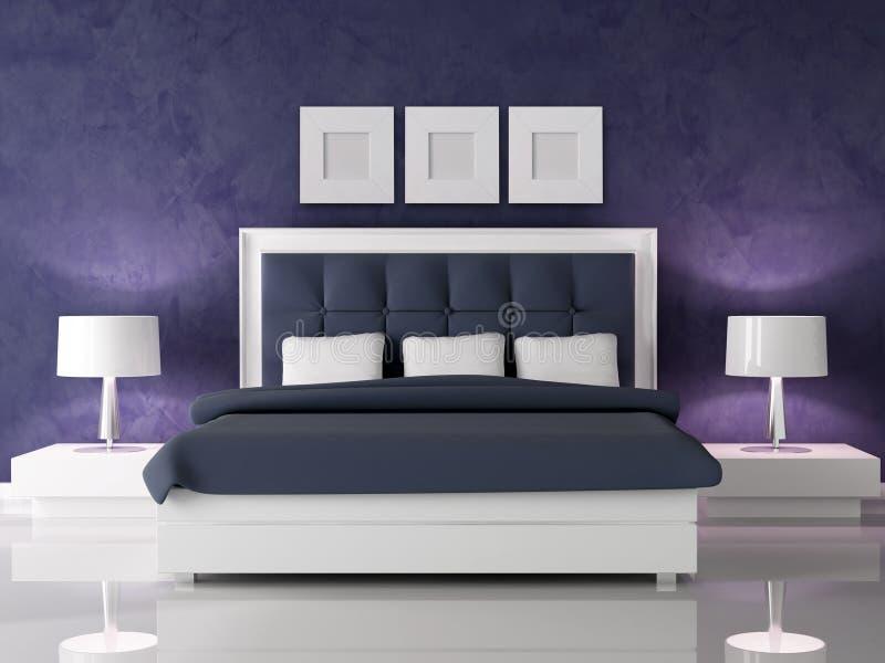 Donkere purpere slaapkamer vector illustratie