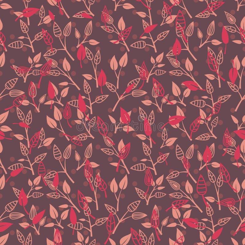 Donkere Retro Bladeren op Takken Naadloos Patroon vector illustratie