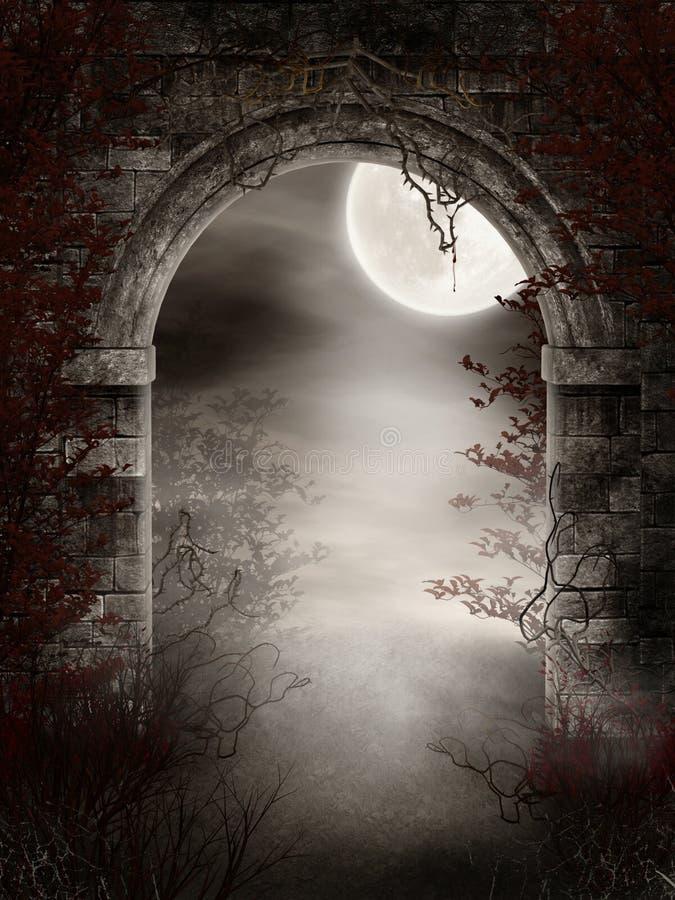 Donkere ruïnes met doornen