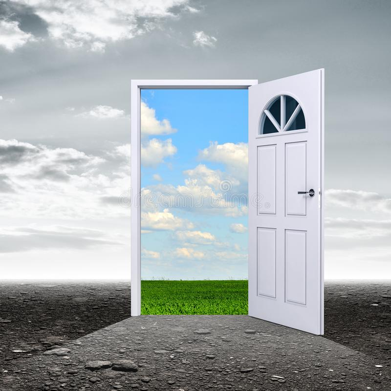 Donkere ruimte met deur die voor de zomerdag openen royalty-vrije stock afbeelding