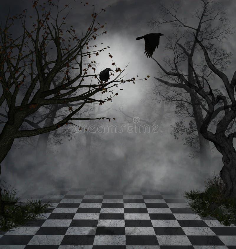 Donkere scène stock illustratie