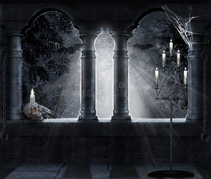 Donkere scène vector illustratie