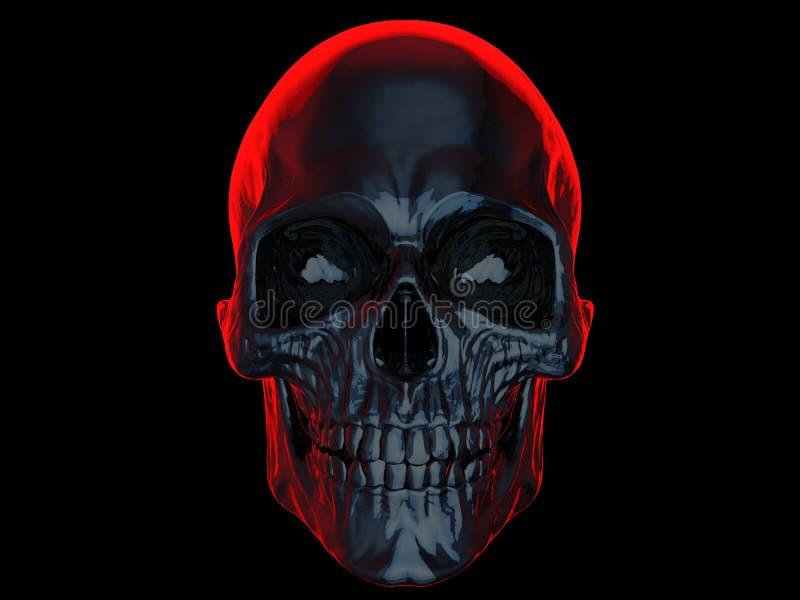 Donkere schedel met helder rood achterlicht vector illustratie