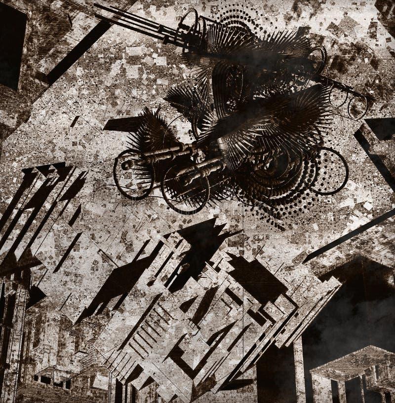 Donkere stad stock illustratie