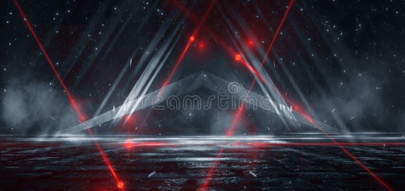 Donkere straat, weerspiegeling van neonlicht op nat asfalt Stralen van licht en rood laserlicht in dark vector illustratie