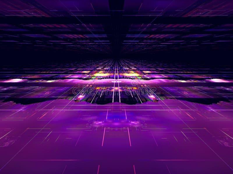 Donkere technologieachtergrond met perspectiefeffect - abstract digitaal geproduceerd beeld royalty-vrije illustratie