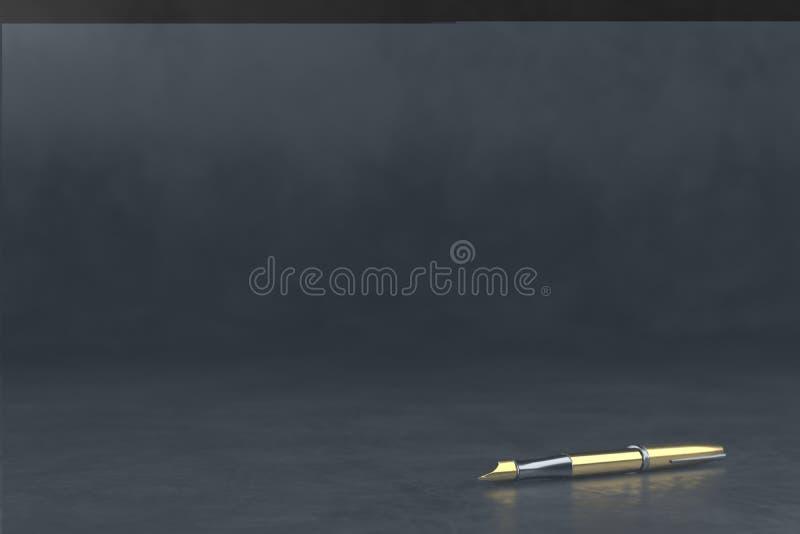 Donkere vage achtergrond met klassieke vulpen 3d teruggevende illustratie Pen op een donkere oppervlakte stock illustratie