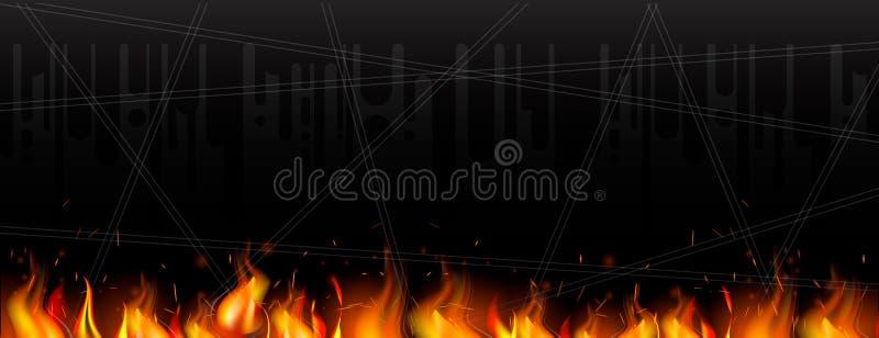 Donkere weefselachtergrond met een vlam en vonken, in moderne stijl Achtergrond voor Webbanner, reclame stock illustratie
