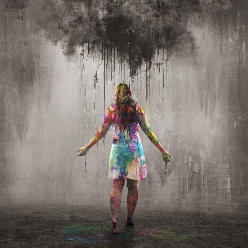 Donkere wolk en kleurrijke regendalingen stock afbeeldingen