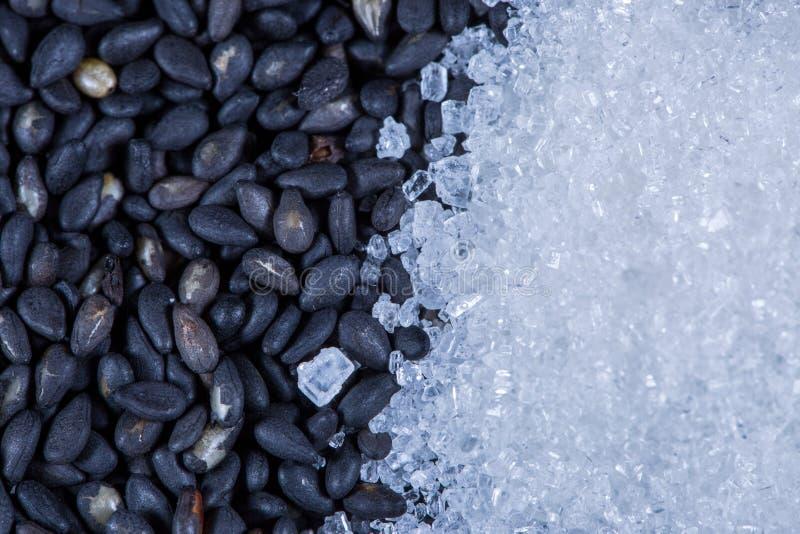Donkere zaden en suiker stock afbeeldingen