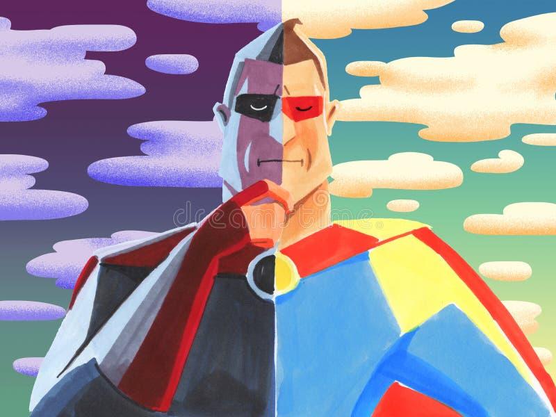 Donkere zij en lichte kant van superhero royalty-vrije illustratie