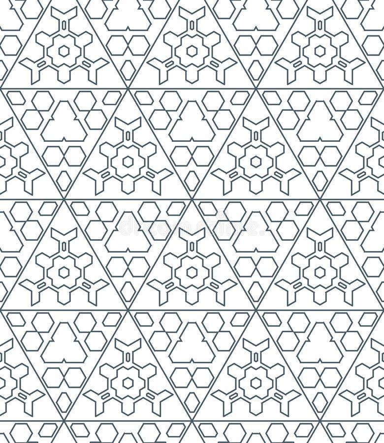 Donkere zwart-wit de contour abstracte geometrische seamle van de kleurendriehoek royalty-vrije illustratie
