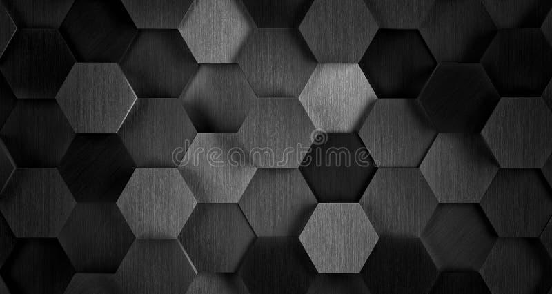 Donkere Zwart-witte Hexagonale Tegelachtergrond - 3D Illustratie vector illustratie