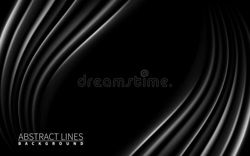 Donkere Zwarte het Effect van de golvenblaar Realistische Ontwerpelementen Vector illustratie Abstracte zwarte moderne achtergron royalty-vrije illustratie