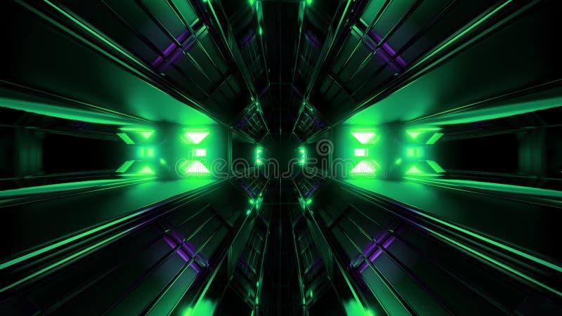 Donkere zwarte ruimtetunnel met het groene het gloeien artefact vjloop 3d teruggeven stock illustratie
