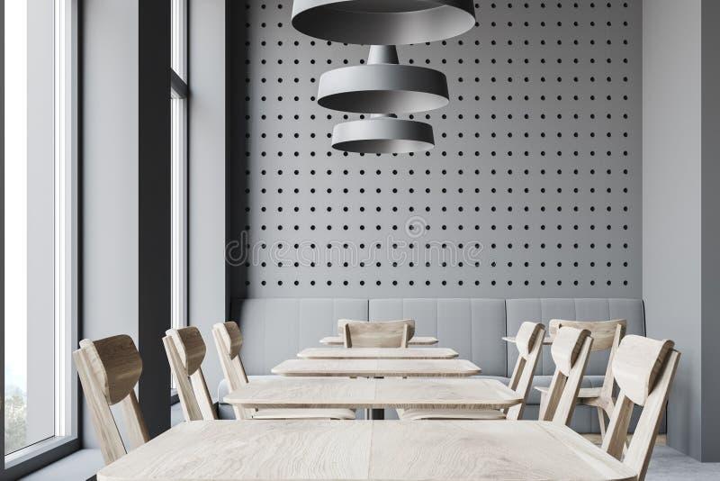 Donkergrijs restaurantbinnenland met bank stock illustratie