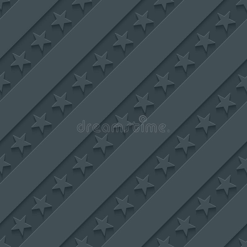 Donkergrijs sterren en strepenbehang vector illustratie
