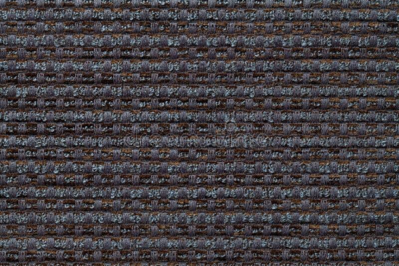 Donkergrijze achtergrond van geruite patroontextiel, close-up Structuur van de rieten stoffenmacro royalty-vrije stock foto