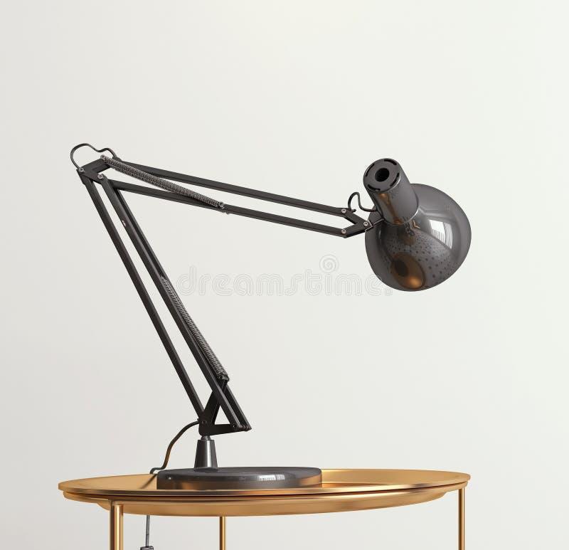 Donkergrijze bureaulamp die op lege witte muur, exemplaarruimte, malplaatje, kaart glanzen vector illustratie