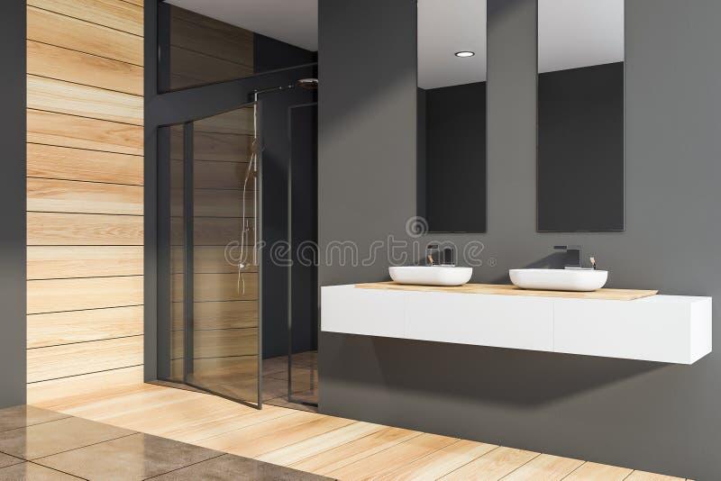 Donkergrijze en houten badkamers, gootstenen en douche vector illustratie